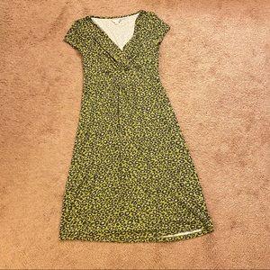 Boden green leopard print dress, size 8 long